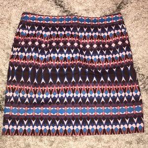 J.Crew multicolored patterned mini skirt